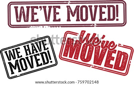 Weve Moved Relocation Announcement Stamps