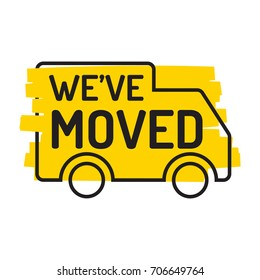 We've moved. Truck icon with grunge effect. Vector illustration on white background.