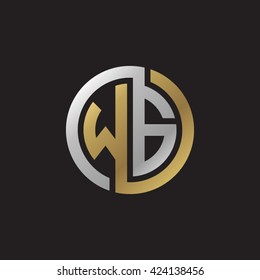 WG initial letters looping linked circle elegant logo golden silver black background
