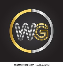WG Letter logo in a circle. gold and silver colored. Vector design template elements for your business or company identity.