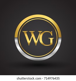 WG Letter logo in a circle, gold and silver colored. Vector design template elements for your business or company identity.