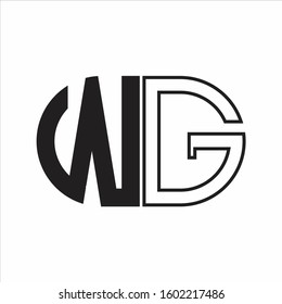 WG Letter logo monogram with oval shape negative space design template white background