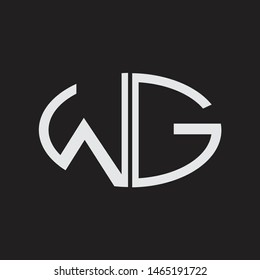 WG Logo letter oval monogram design template with black and white colors