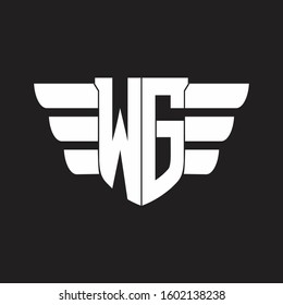 WG Logo monogram with emblem and wings element design template