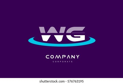 wg w g cyan magenta blue letter combination alphabet vector company logo icon sign design template