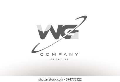 wg w g  grey swoosh white alphabet company logo line design vector icon template