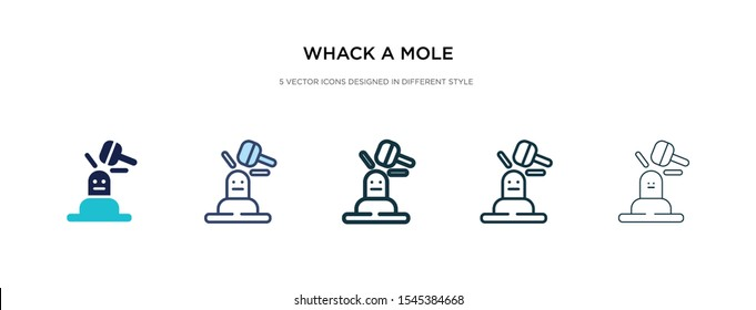 whack a mole icon in different style vector illustration. two colored and black whack a mole vector icons designed in filled, outline, line and stroke style can be used for web, mobile, ui