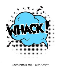 Whack, word in speech bubble patch badge. Comic book style vector sticker, pin, patch in cartoon 80s-90s comic style
