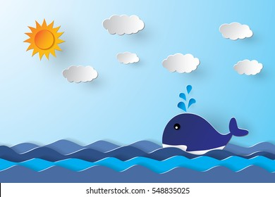 Whale in blue sea, paper art style.