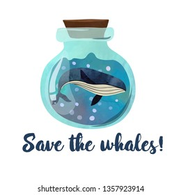 Whale in the bottle. Poster or card design. Illustration on white background. Watercolour imitation