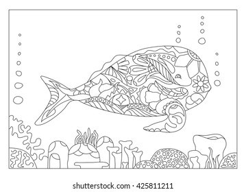 Whale coloring page vector illustration, adult coloring illustration, whale coloring picture, mandala style whale coloring page, marine animal vector illustration for coloring, outlined whale in coral