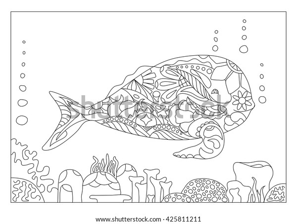 Whale Coloring Page Vector Illustration Adult Stock Vector Royalty