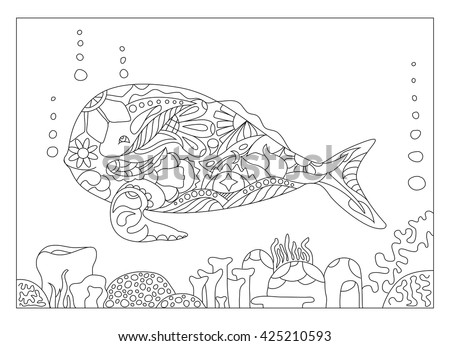 Whale And Corals Coloring Page Sea Theme With