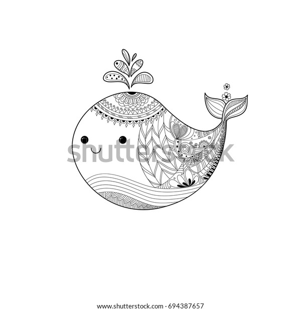Whale Cute Zentangle Adult Coloring Book Stock Vector