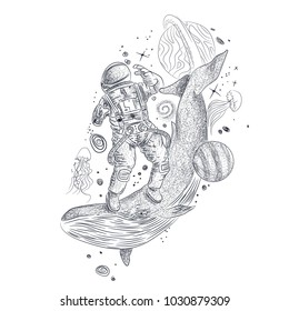 Whale double exposure surreal tattoo, cosmonaut in space. Steering wheel lighthouse, storm. Travel, adventure, outdoors symbol whale double exposure animals t-shirt design