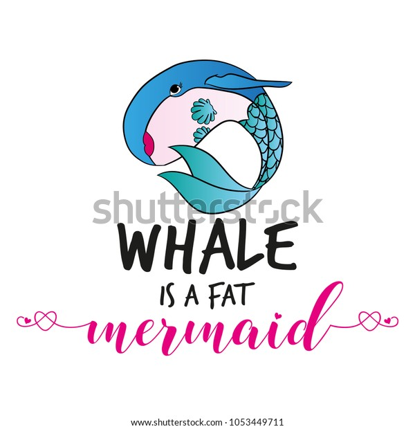 Vector De Stock Libre De Regalías Sobre Whale Fat Mermaid