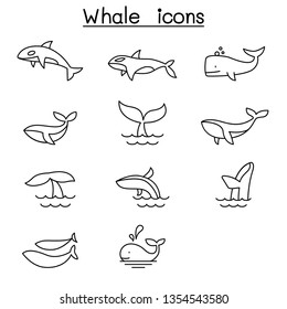 Whale icon set in thin line style
