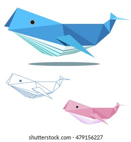 whale illustration graphic art in low polygon vector , geometric illustration, origami art