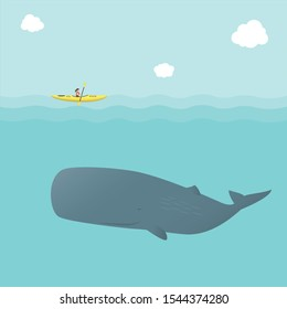 Whale and Kayak isolated on Blue sea background. Kayaking with Sperm Whale (Physeter macrocephalus). Submarine and Boats vector illustration.