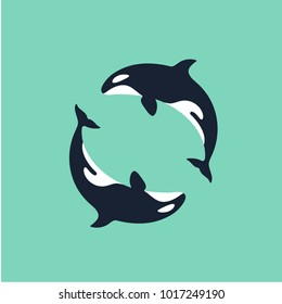 whale killer in water. orca in swimming pool. logo of killer whale. flat orca for poster or icon. whale killer in swimming pool. whale killer on pastel texture. grampus