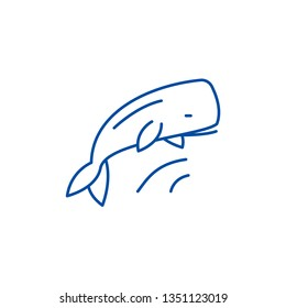 Whale line icon concept. Whale flat  vector symbol, sign, outline illustration.