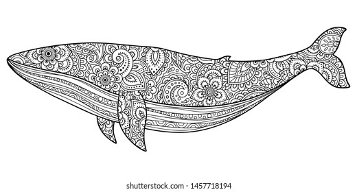 Whale is a marine mammal made a floral pattern with Oriental ornaments. Hand drawn decorative animal in Doodle style. Stylized decoration of mehndi for tattoos, stamps, covers, books and coloring.