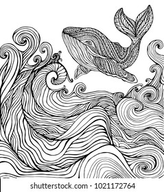 Whale and ocean waves coloring page for children and adults. Pattern isolated. Cartoon  character decorative element. Vector hand drawn anti stress  background.Funny doodle sketch style with a nature.
