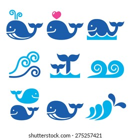 Whale, sea or ocean waves blue icons set