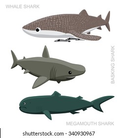 Whale Shark Set Cartoon Vector Illustration