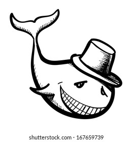 Whale smiling character isolated on white. Sketch illustration