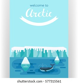 Whale swimming between icebergs. Arctic scene with snow-covered icy hummocks and marine animal in cold North ocean. Poster template. Flat design style. Vector illustration.