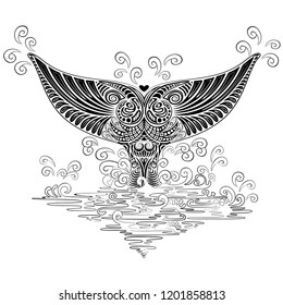 Whale Tail Boho Tattoo Style Decorative Vector illustration
