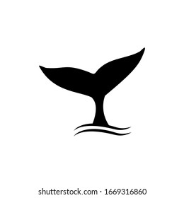 Whale tail icon vector illustration, whale tail sign isolated on white background.