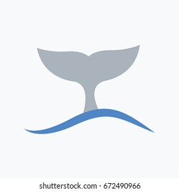 Whale tail label vector cartoon in the water or in the ocean. one wave symbol flat design style isolated