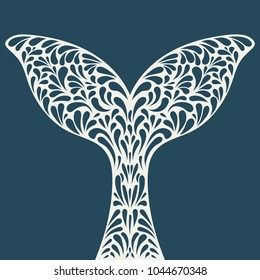 Whale tail. Ornament artistic vector illustration for tattoo, t-shirt print