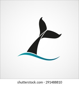 whale tail wave logo sign emblem on white background vector illustration