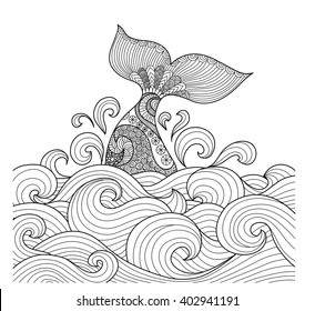 Whale tail in the wavy ocean lines art for adult coloring book,sign, logo, T-shirt, card and design elelment