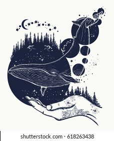 Whale tattoo art. Symbol of a dream, freedom, travel, imagination, meditation. Whale flies by over forest t-shirt design