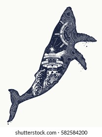 ab50660c3 Whale tattoo art. Symbol Travel, adventure tourism. Lighthouse and waves  inside whale.