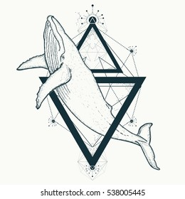 Whale tattoo geometric style. Travel, adventure, outdoors symbol marine. Creative geometric art t-shirt print design poster textile