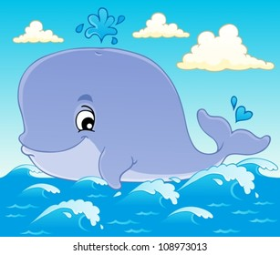 Whale theme image 1 - vector illustration.