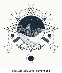 Whale under water tattoo art whale in the sea graphic style. Ship storm waves. Travel, adventure, outdoors, tattoo symbol