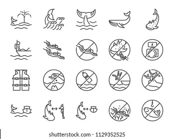 Whale watch icon set. Included icons as Whale watching, scuba diver, diving, marine, ocean traveler, underwater and more.