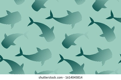 Whales, manta rays, sharks, whale shark fishes vector seamless pattern. Wildlife underwater ocean fish species emerald green and deep blue background. Sea landscape view wallpaper design.
