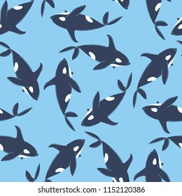 Whales seamless pattern. Animal background. Vector illustration