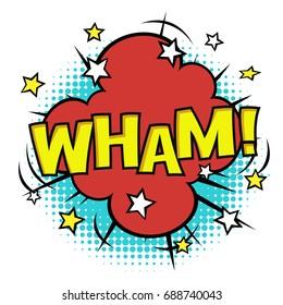 WHAM! phrase in speech bubble. Comic sound. Vector bubble icon speech phrase. Comics book balloon. Halftone background.