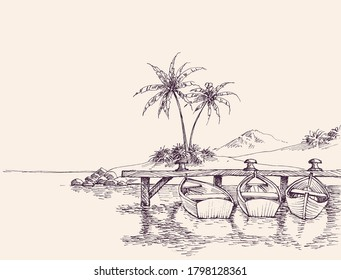 Wharf drawing, empty boats and palm trees on sandy beach