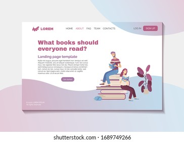 What books should everyone read? Bestsellers and masterpieces guide landing page template. Young smiling people reading books cartoon vector illustration. Reviews of most interesting and popular books