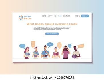 What books should everyone read landing page template. Young smiling people reading books cartoon vector illustration. Reviews of most interesting and popular books. Bestsellers and masterpieces guide
