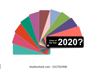 what color of the year 2020 concept, trend color palette sample swatch book guide, stock vector illustration clip art template isolated on white background